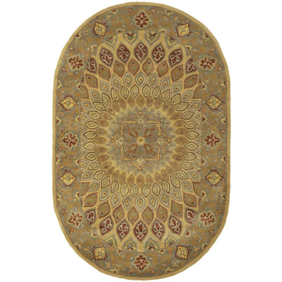 New Persian Hand Tufted Wool Oval Area Rug: Safavieh Heritage Chador Light Brown/Gray Indoor