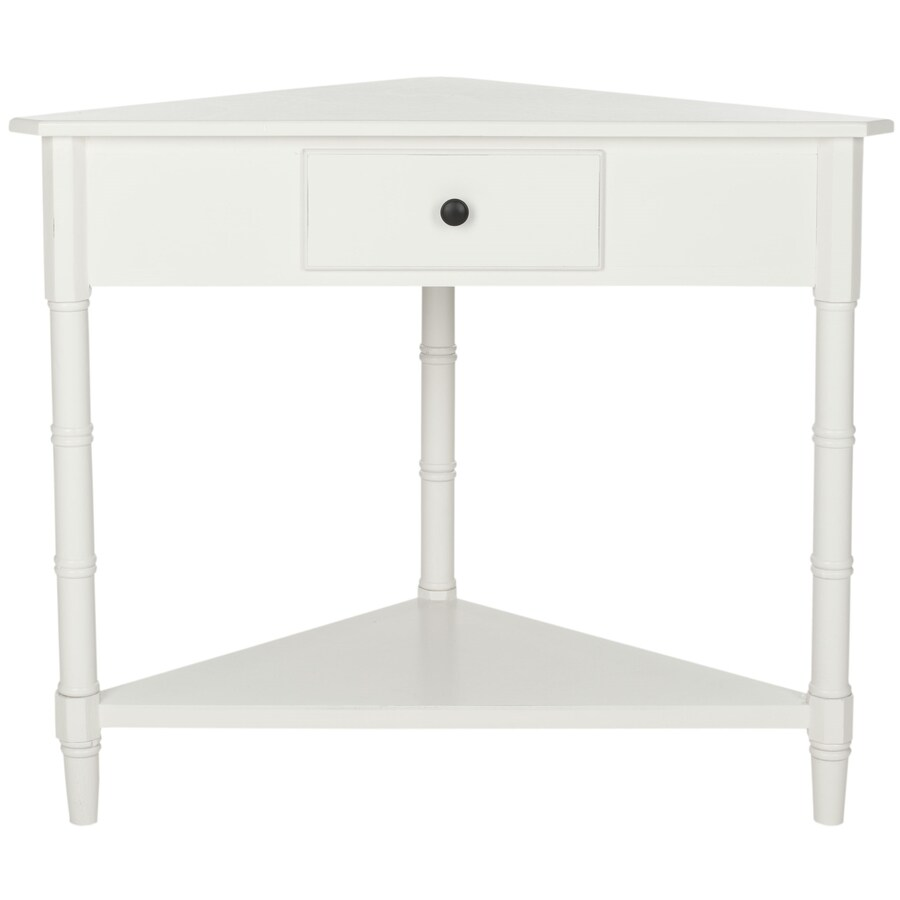 Shop safavieh gomez distressed cream end table at for Corner side table
