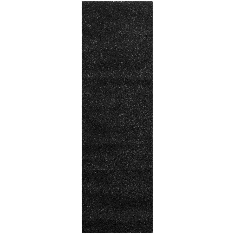 Safavieh California Shag Black Rectangular Indoor Machine-Made Runner (Common: 2 x 7; Actual: 2.25-ft W x 7-ft L)