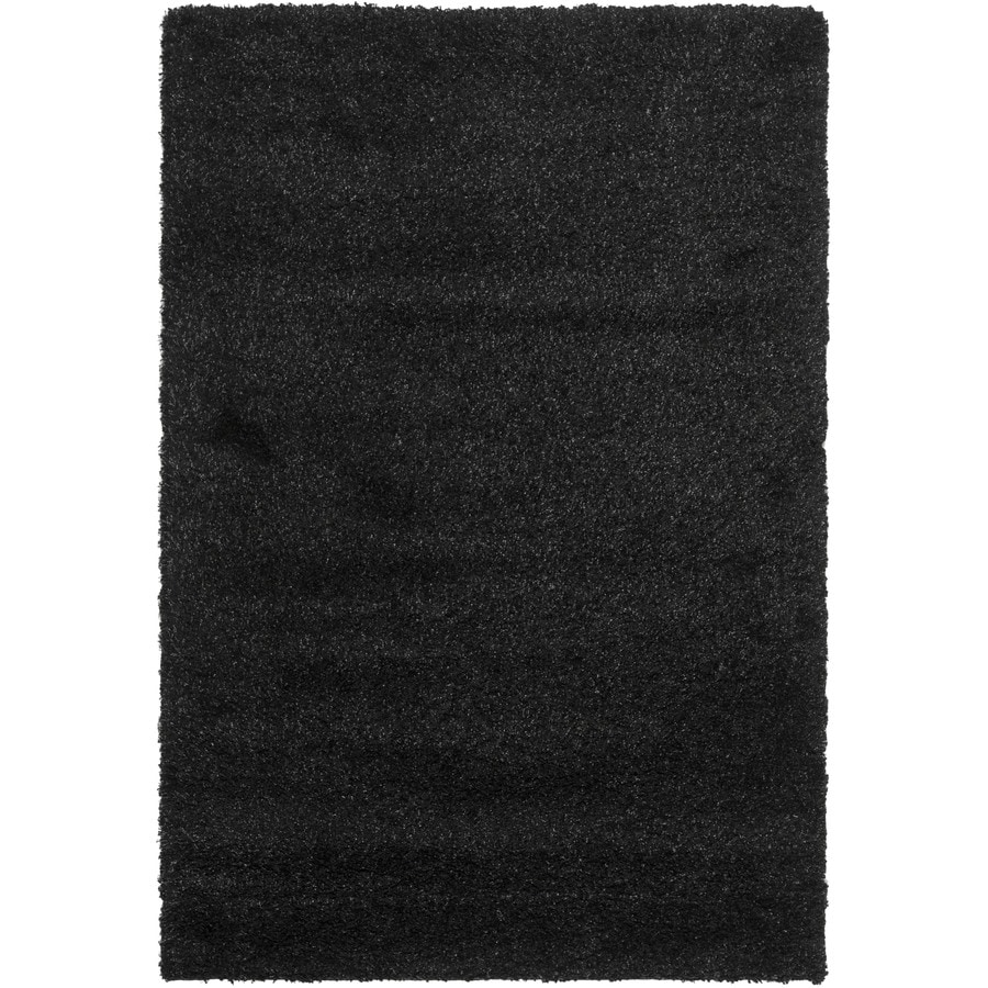 Safavieh California Shag Black Rectangular Indoor Machine-Made Area Rug (Common: 6 x 9; Actual: 6.667-ft W x 9.5-ft L)