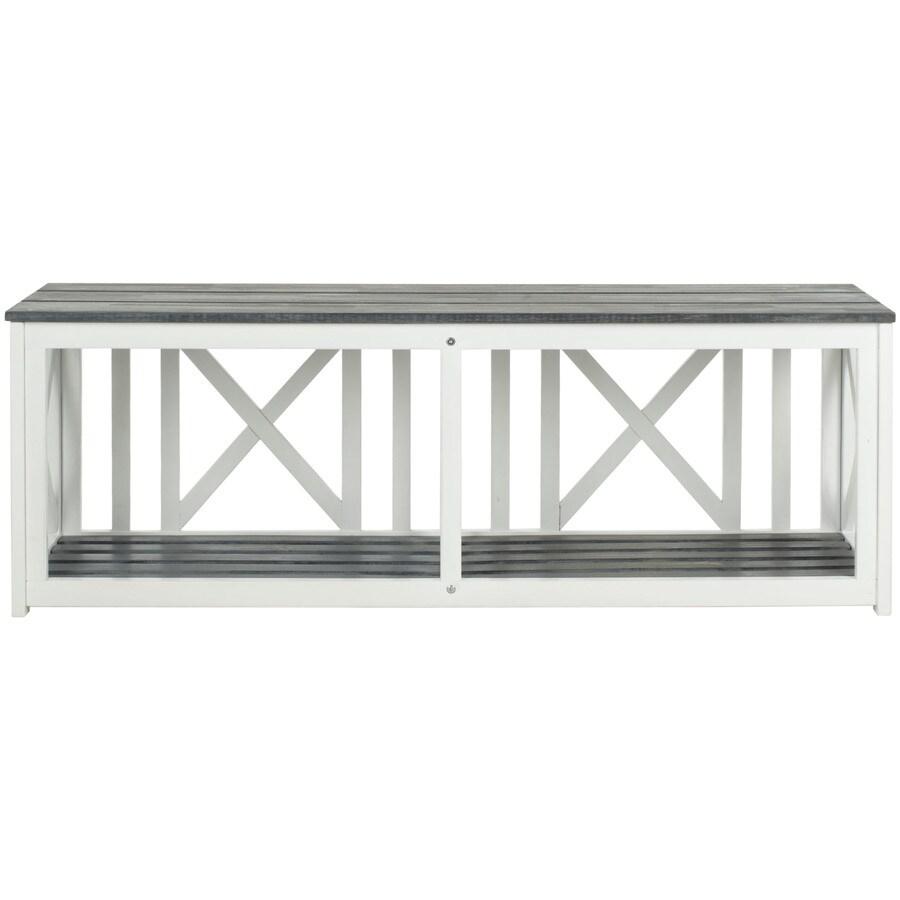 Safavieh Branco 51.2-in W x 13.8-in L White/Ash Gray Patio Bench