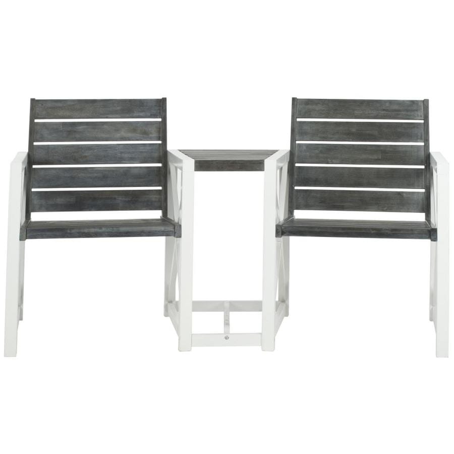 Safavieh Jovanna 62.2-in W x 26.5-in L White/Ash Gray Patio Bench