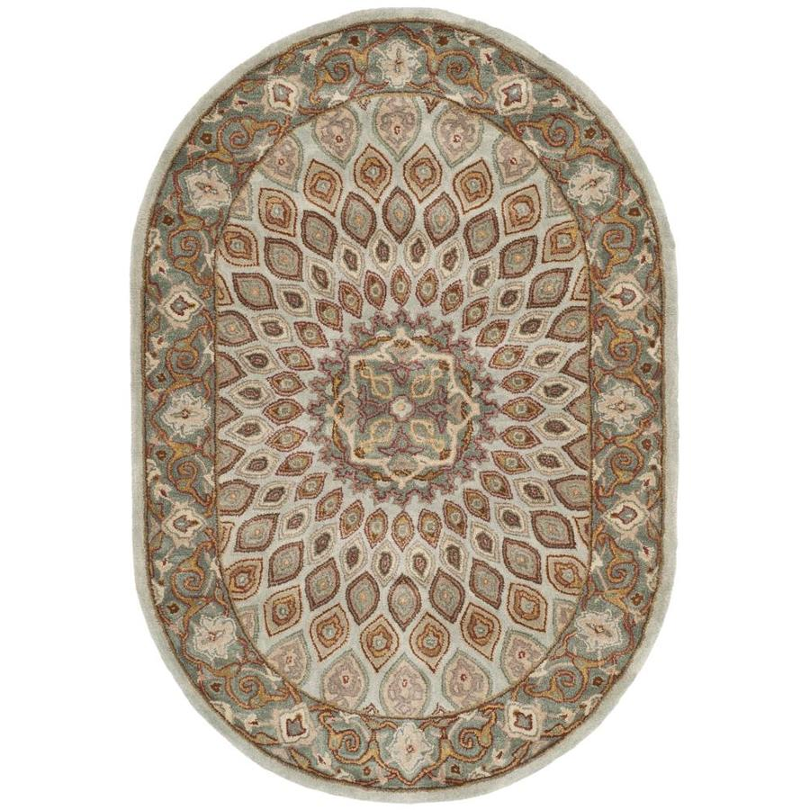 Shop Safavieh Heritage Blue And Grey Oval Indoor Tufted