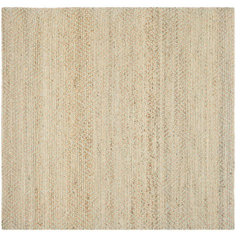 Safavieh Natural Fiber Hewlett Natural/Green Square Indoor Handcrafted Coastal Area Rug (Common: 6 x 6; Actual: 6-ft W x 6-ft L)