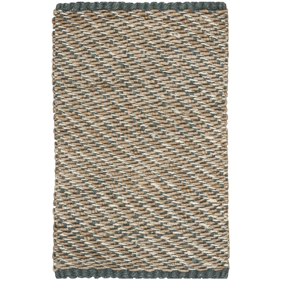 Safavieh Natural Fiber Munsey Blue/Natural Rectangular Indoor Handcrafted Coastal Throw Rug (Common: 2 x 4; Actual: 2.5-ft W x 4-ft)