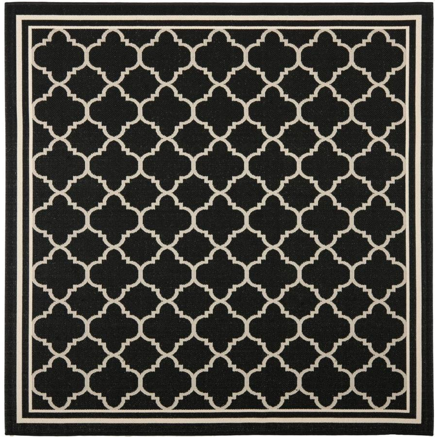 Safavieh Courtyard Samana Black/Beige Square Indoor/Outdoor Machine-made Coastal Area Rug (Common: 6 x 6; Actual: 6.58-ft W x 6.58-ft L)