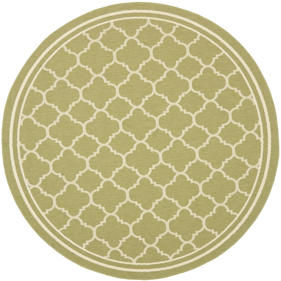 Safavieh Courtyard Green and Beige Round Indoor and Outdoor Machine-Made Area Rug (Common: 5 x 5; Actual: 63-in W x 63-in L x 0.33-ft Dia)