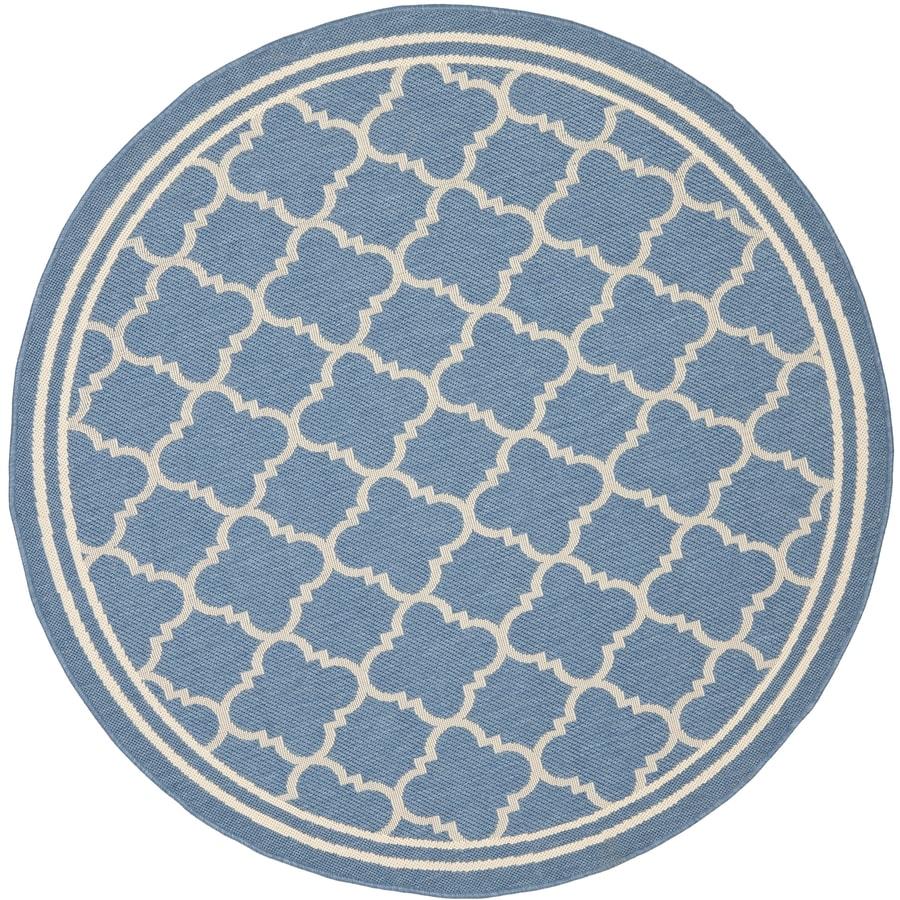 Safavieh Courtyard Samana Blue/Beige Round Indoor/Outdoor Machine-made Coastal Area Rug (Common: 5 x 5; Actual: 5.25-ft W x 5.25-ft L x 5.25-ft Dia)