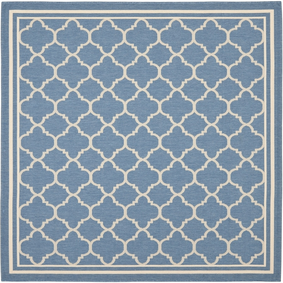 Safavieh Courtyard Blue/Beige Square Indoor/Outdoor Machine-Made Coastal Area Rug (Common: 7 x 7; Actual: 6.58-ft W x 6.5833-ft L)