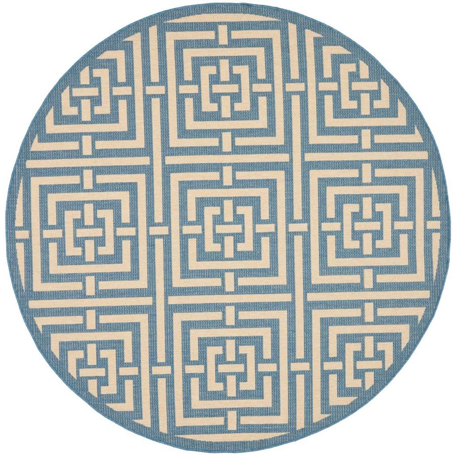 Safavieh Courtyard Beacon Blue/Bone Round Indoor/Outdoor Machine-made Coastal Area Rug (Common: 5 x 5; Actual: 5.25-ft W x 5.25-ft L x 5.25-ft Dia)