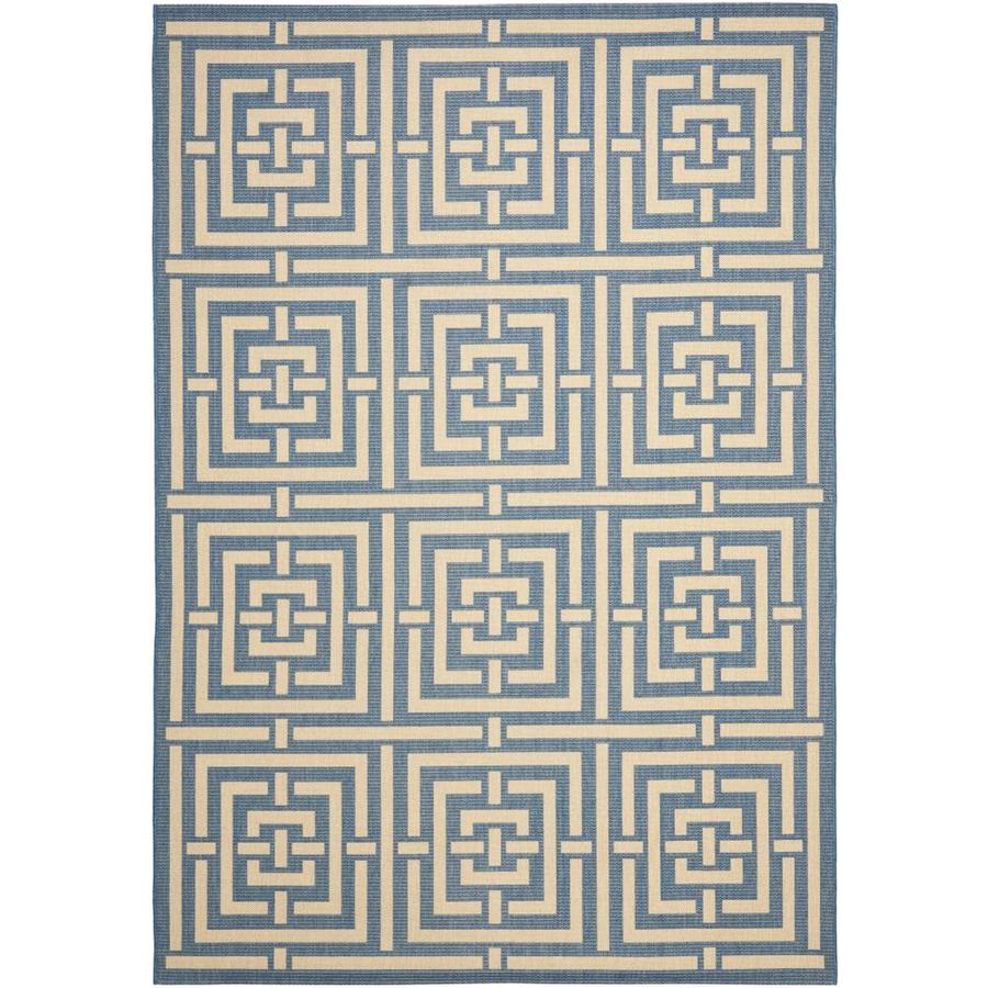 Safavieh Courtyard Beacon Blue/Bone Rectangular Indoor/Outdoor Machine-made Coastal Area Rug (Common: 6 x 9; Actual: 6.58-ft W x 9.5-ft L)