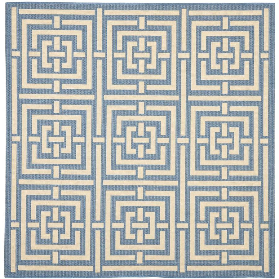 Safavieh Courtyard Blue/Bone Square Indoor/Outdoor Machine-Made Coastal Area Rug (Common: 6 x 6; Actual: 6.5833-ft W x 6.5833-ft L)