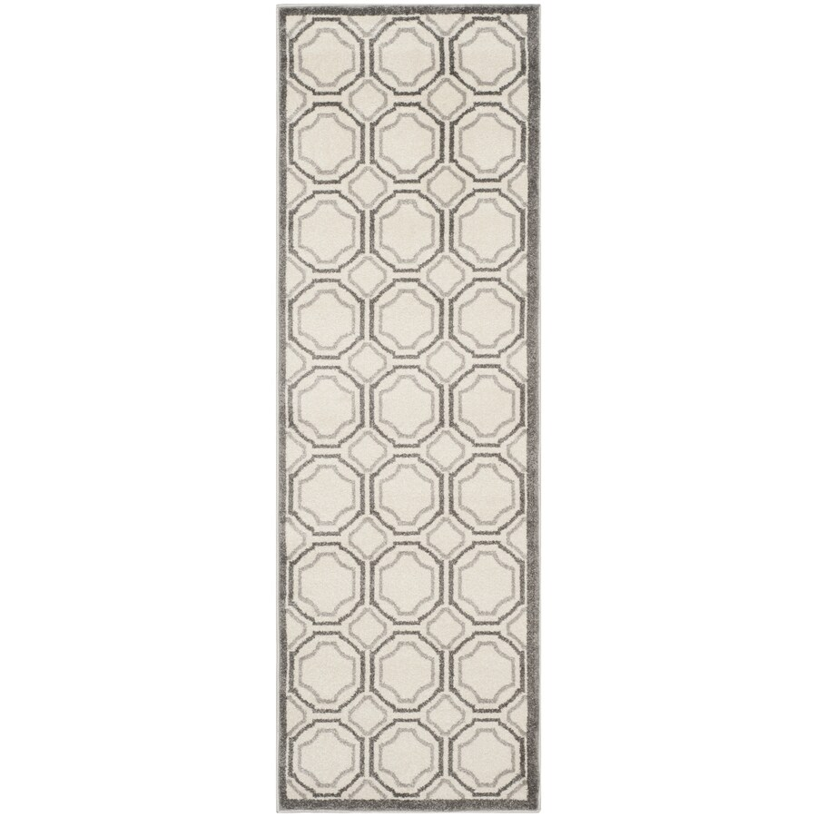 Safavieh Amherst Mosaic Ivory/Light Gray Rectangular Indoor/Outdoor Machine-Made Moroccan Runner (Common: 2 x 9; Actual: 2.25-ft W x 9-ft L)
