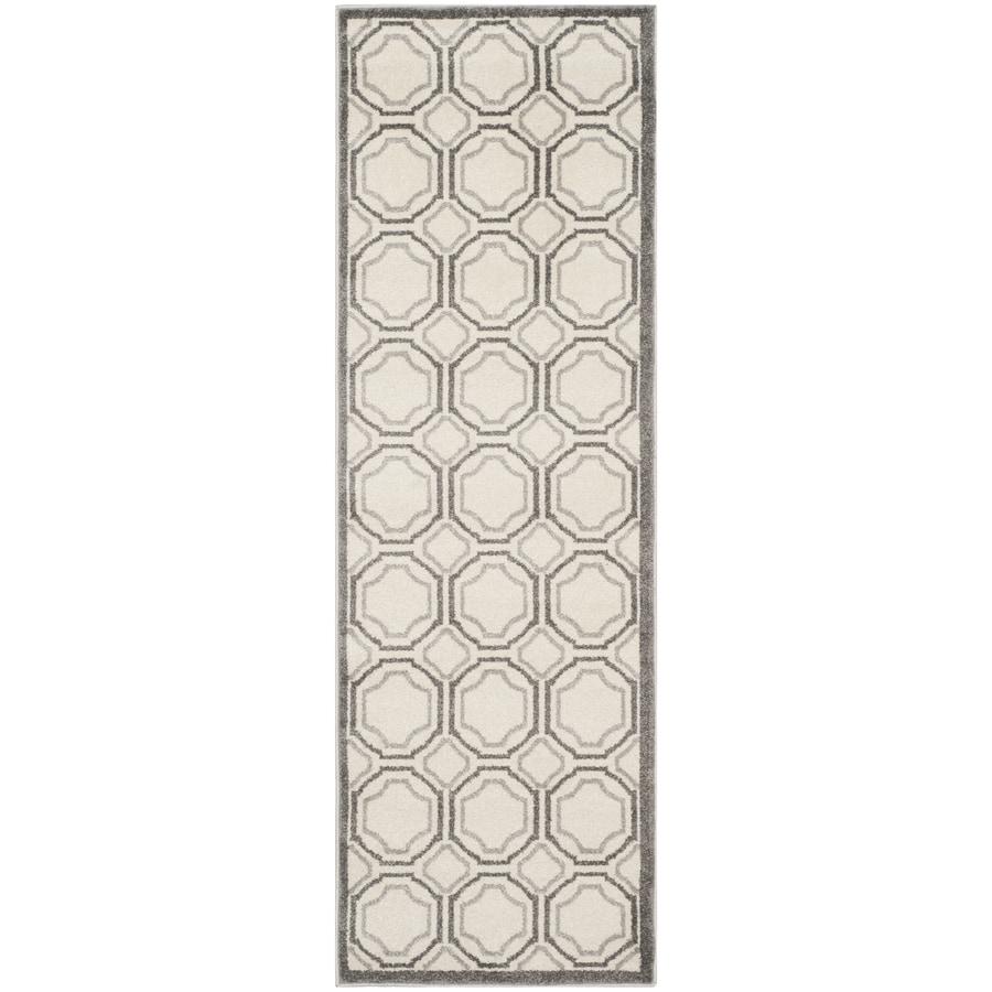 Safavieh Amherst Ivory/Light Gray Rectangular Indoor/Outdoor Machine-Made Moroccan Runner (Common: 2.3 x 9; Actual: 2.25-ft W x 9-ft L x 0-ft Dia)