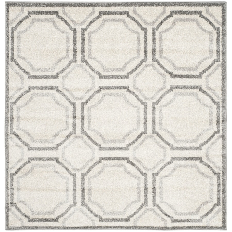 Safavieh Amherst Mosaic Ivory/Light Gray Square Indoor/Outdoor Machine-Made Moroccan Area Rug (Common: 5 x 5; Actual: 5-ft W x 5-ft L)