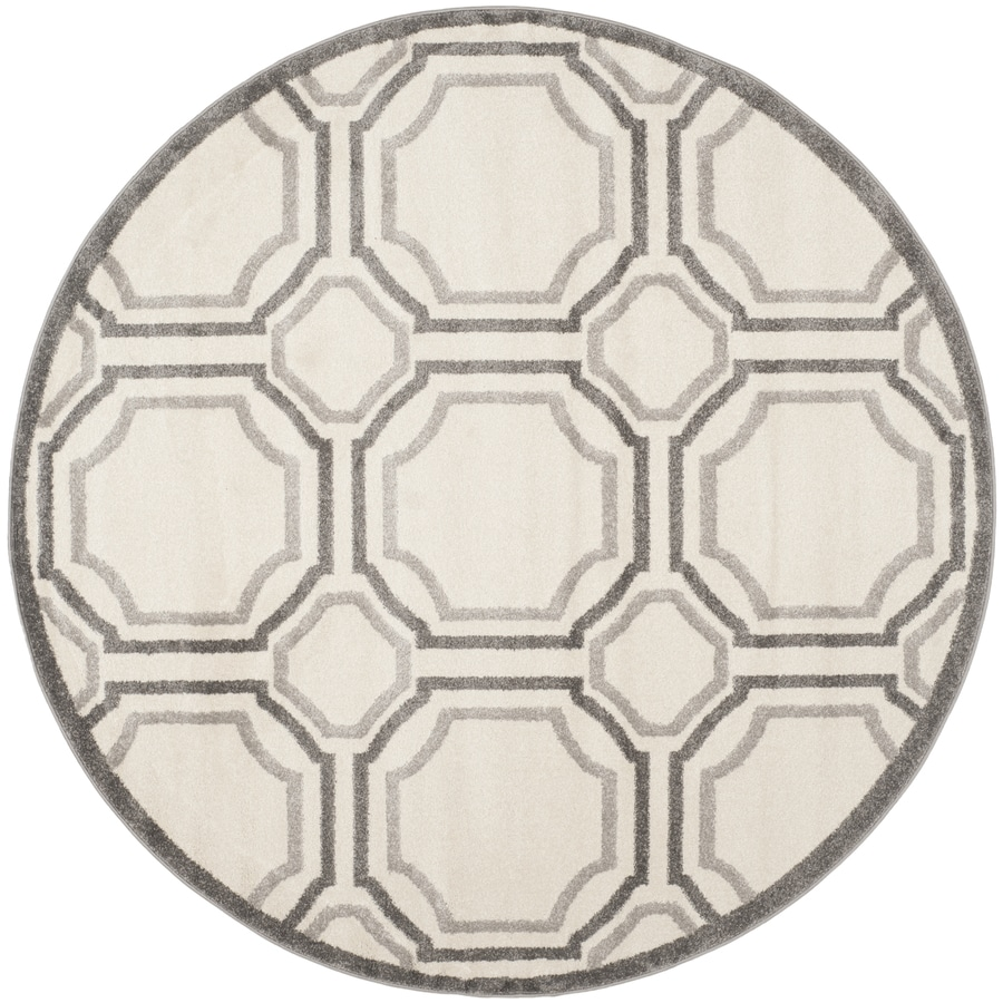 Safavieh Amherst Mosaic Ivory/Light Gray Round Indoor/Outdoor Machine-Made Moroccan Area Rug (Common: 5 x 5; Actual: 5-ft W x 5-ft L x 5-ft Dia)