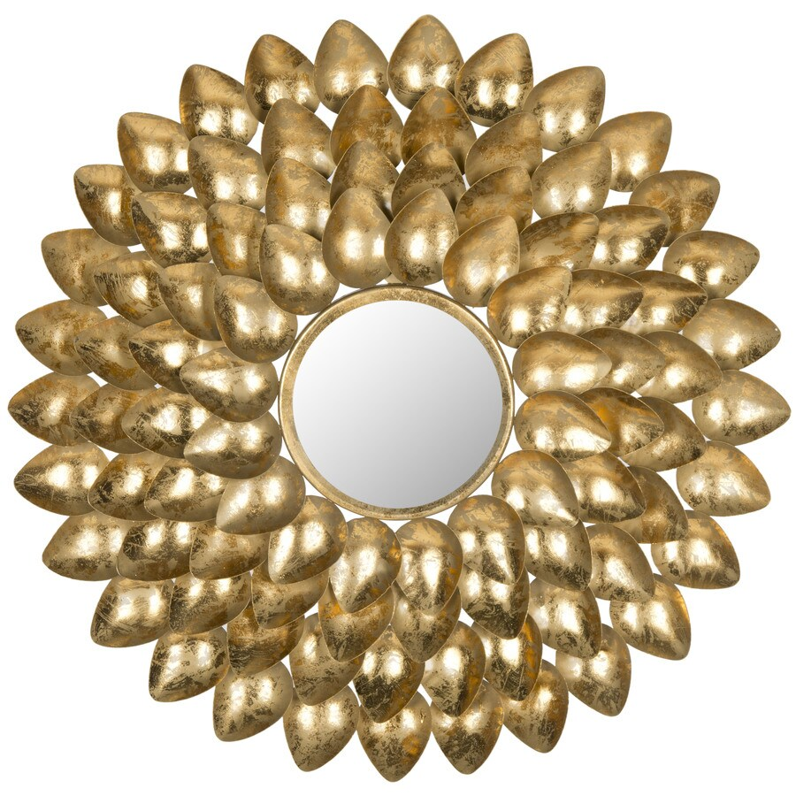 Safavieh Woodland Sunburst Antique Gold Polished Round Wall Mirror