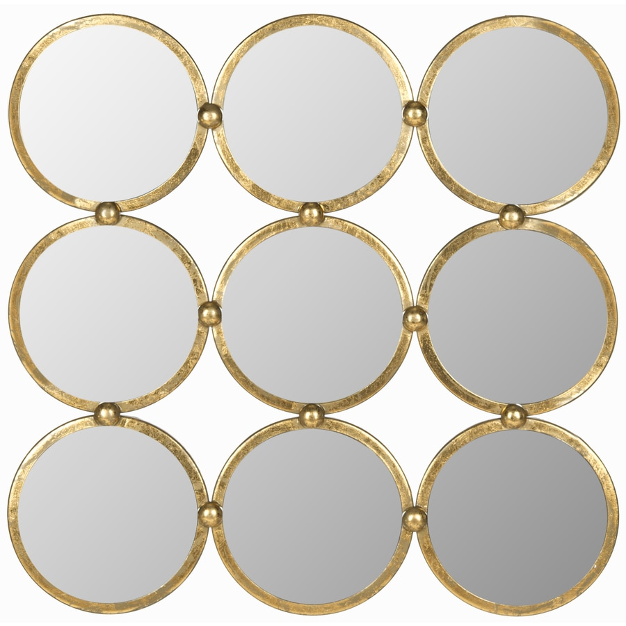 Safavieh 28-in x 28-in Antique Gold Polished Round Framed Contemporary Wall Mirror