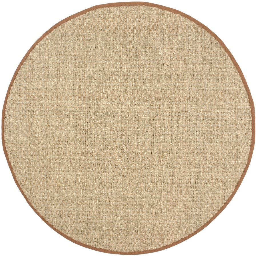 Safavieh Natural Fiber Hampton Natural/Brown Round Indoor Machine-made Coastal Area Rug (Common: 6 x 6; Actual: 6-ft W x 6-ft L x 6-ft dia)