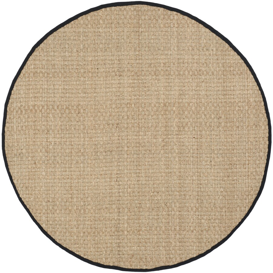 Safavieh Natural Fiber Hampton Natural/Black Round Indoor Coastal Area Rug (Common: 6 x 6; Actual: 6-ft W x 6-ft L x 6-ft dia)
