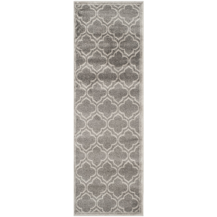 Safavieh Amherst Moroccan Gray/Light Gray Rectangular Indoor/Outdoor Machine-Made Moroccan Runner (Common: 2 x 22; Actual: 2.25-ft W x 22-ft L)
