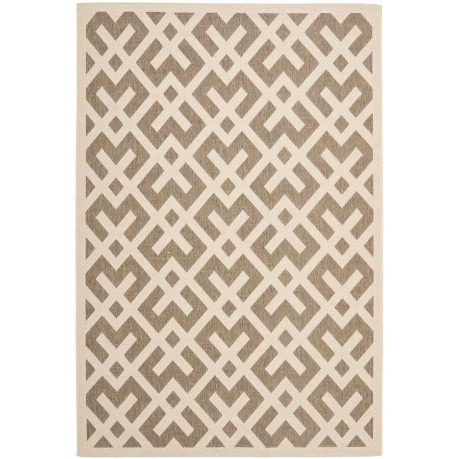 Safavieh Courtyard Brown/Bone Rectangular Indoor/Outdoor Machine-Made Coastal Area Rug (Common: 6 x 9; Actual: 6.58-ft W x 9.5-ft L x 0-ft Dia)