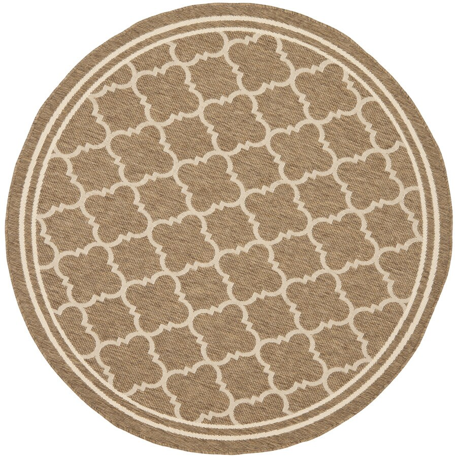 Safavieh Courtyard 6-ft 7-in x 6-ft 7-in Round Brown Transitional Indoor/Outdoor Area Rug
