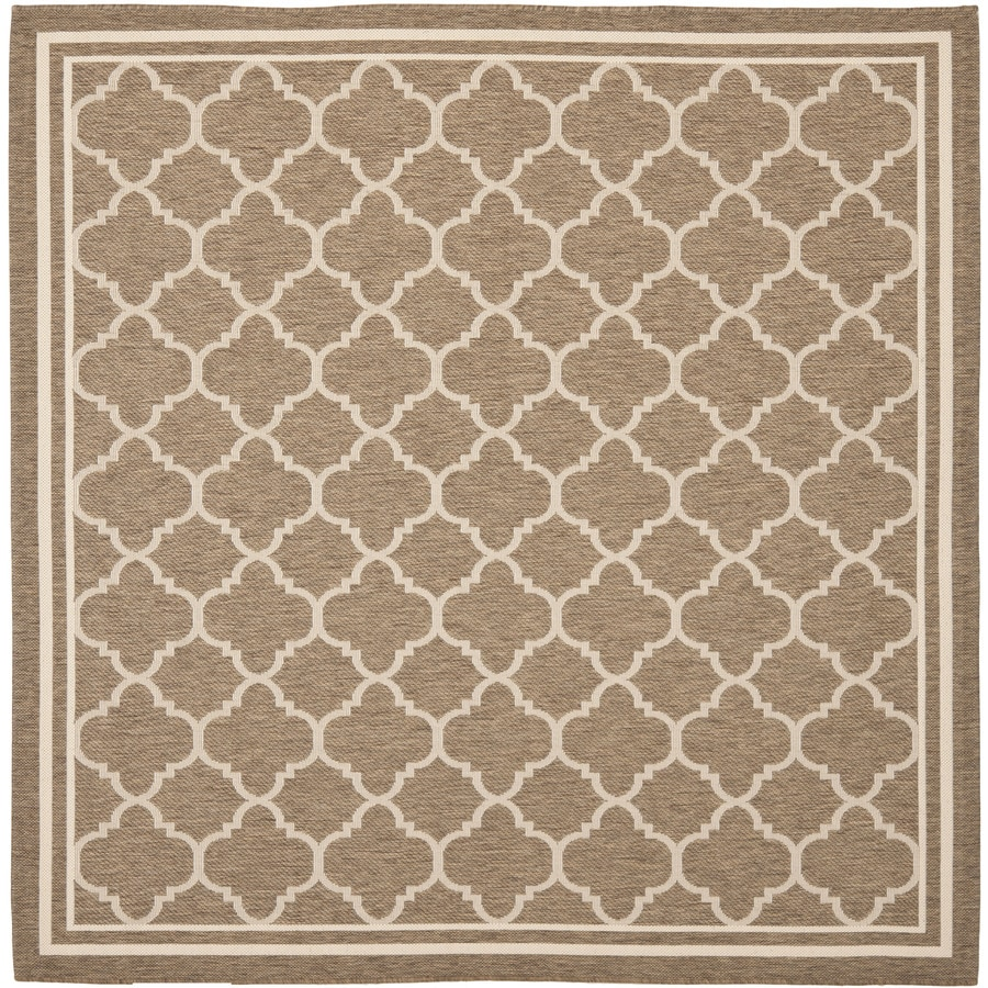 Safavieh Courtyard 6-ft 7-in x 6-ft 7-in Square Brown Transitional Indoor/Outdoor Area Rug
