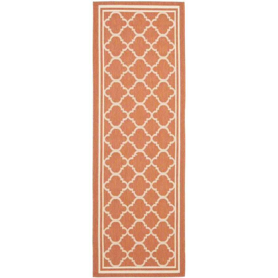 Safavieh Courtyard Terracotta and Bone Rectangular Indoor and Outdoor Machine-Made Runner (Common: 2 x 10; Actual: 28-in W x 109-in L x 0.42-ft Dia)