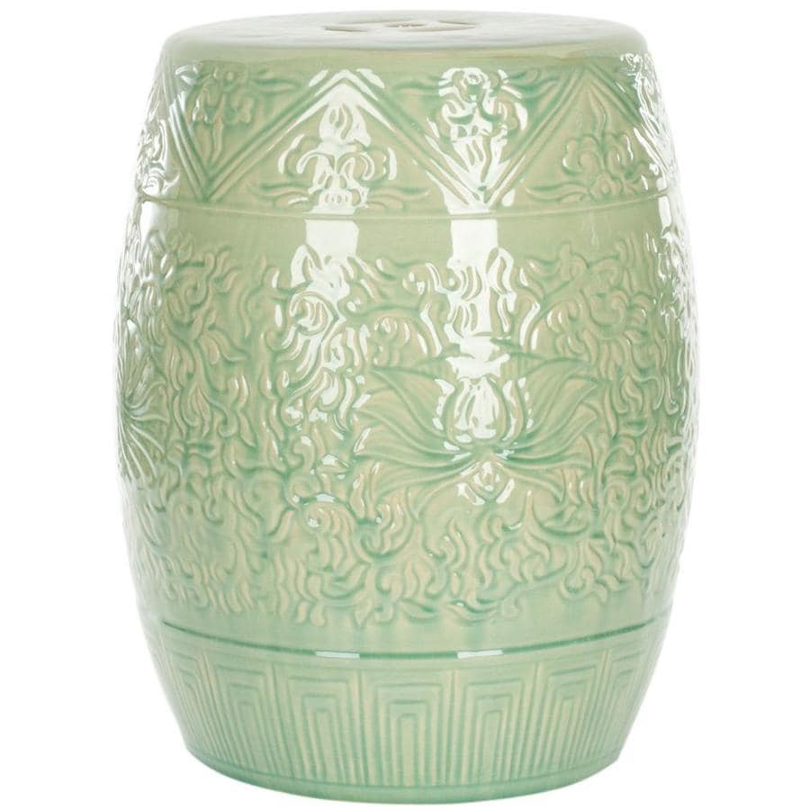 Safavieh 18.5-in Light Green Ceramic Barrel Garden Stool