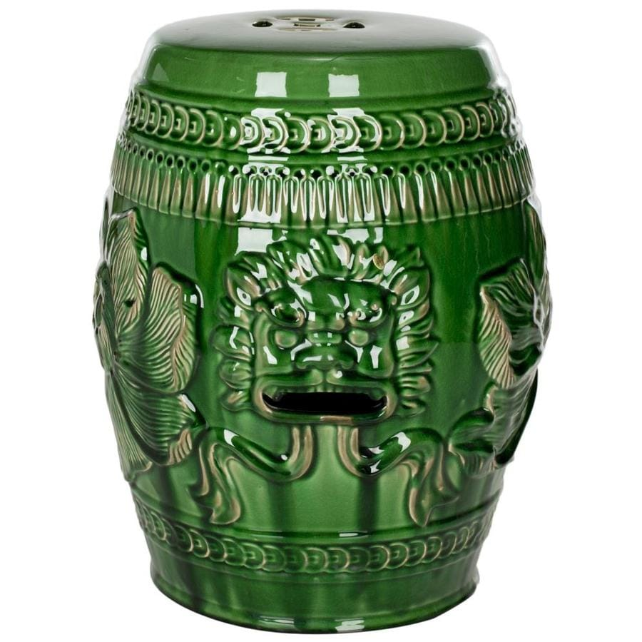 Safavieh 18 In Green Ceramic Barrel Garden Stool At Lowes Com