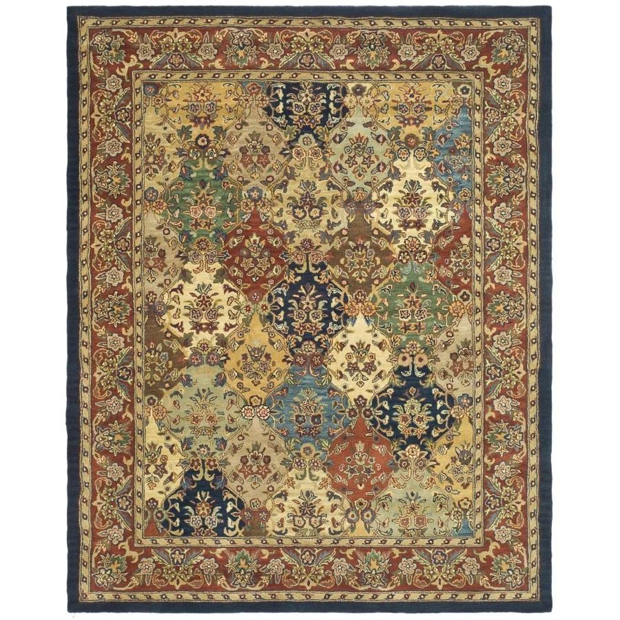 Safavieh Heritage Multi/Burgundy Rectangular Indoor Handcrafted Oriental Area Rug (Common: 9 x 12; Actual: 9.5-ft W x 13.5-ft L x 0-ft Dia)