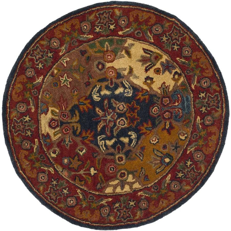 Safavieh Heritage Multi/Burgundy Round Indoor Handcrafted Oriental Throw Rug (Common: 3 x 3; Actual: 3.5-ft W x 3.5-ft L x 3.5-ft Dia)