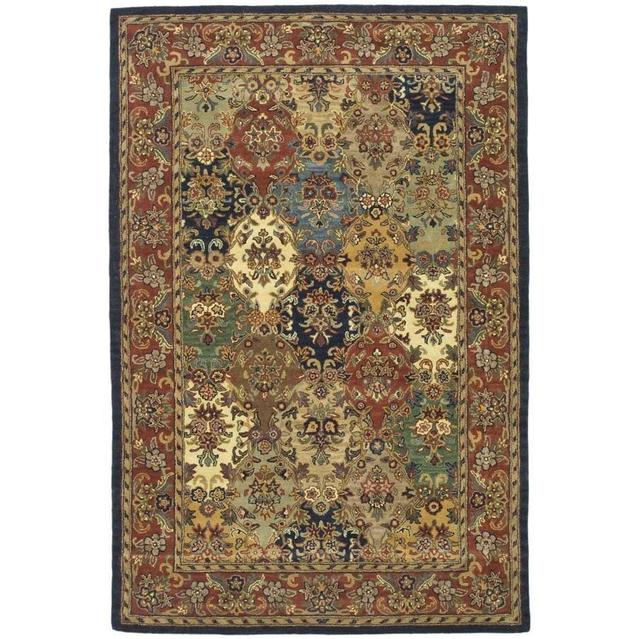 Safavieh Heritage Abaya Multi/Burgundy Rectangular Indoor Handcrafted Oriental Area Rug (Common: 6 x 9; Actual: 6-ft W x 9-ft L)