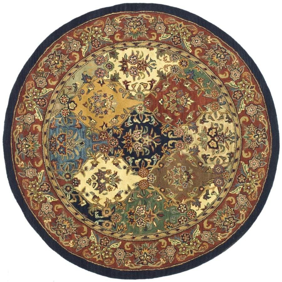 Safavieh Heritage Abaya Multi/Burgundy Round Indoor Handcrafted Oriental Area Rug (Common: 6 x 6; Actual: 6-ft W x 6-ft L x 6-ft Dia)