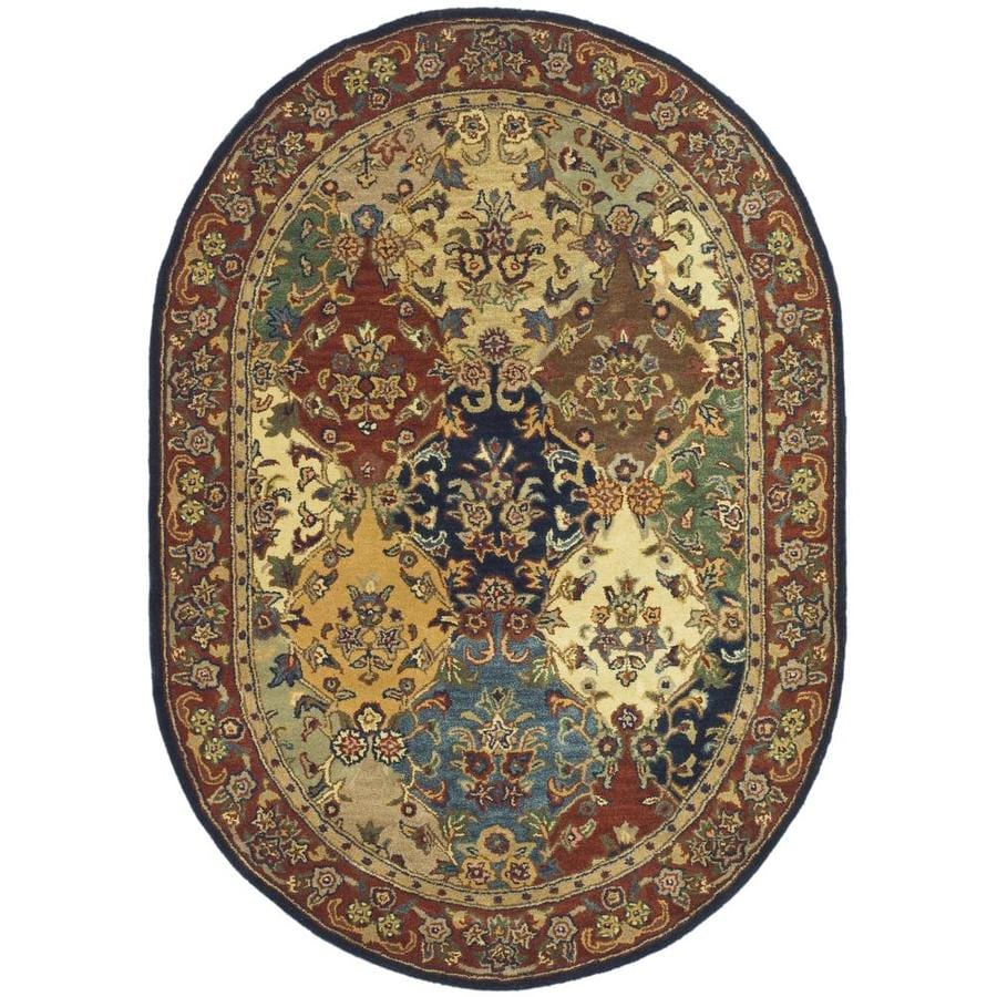 Safavieh Heritage Abaya Burgundy Oval Indoor Handcrafted Oriental Area Rug (Common: 8 x 10; Actual: 7.5-ft W x 9.5-ft L)