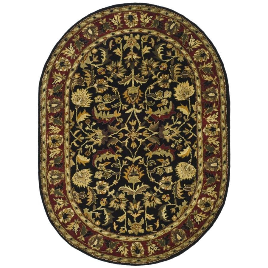 Safavieh Heritage Black/Red Oval Indoor Handcrafted Oriental Area Rug (Common: 4 x 6; Actual: 4.5-ft W x 6.5-ft L)