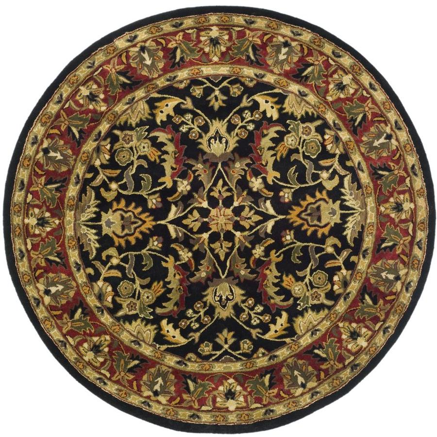 Safavieh Heritage Shiras Black/Red Round Indoor Handcrafted Oriental Area Rug (Common: 6 x 6; Actual: 6-ft W x 6-ft L x 6-ft dia)