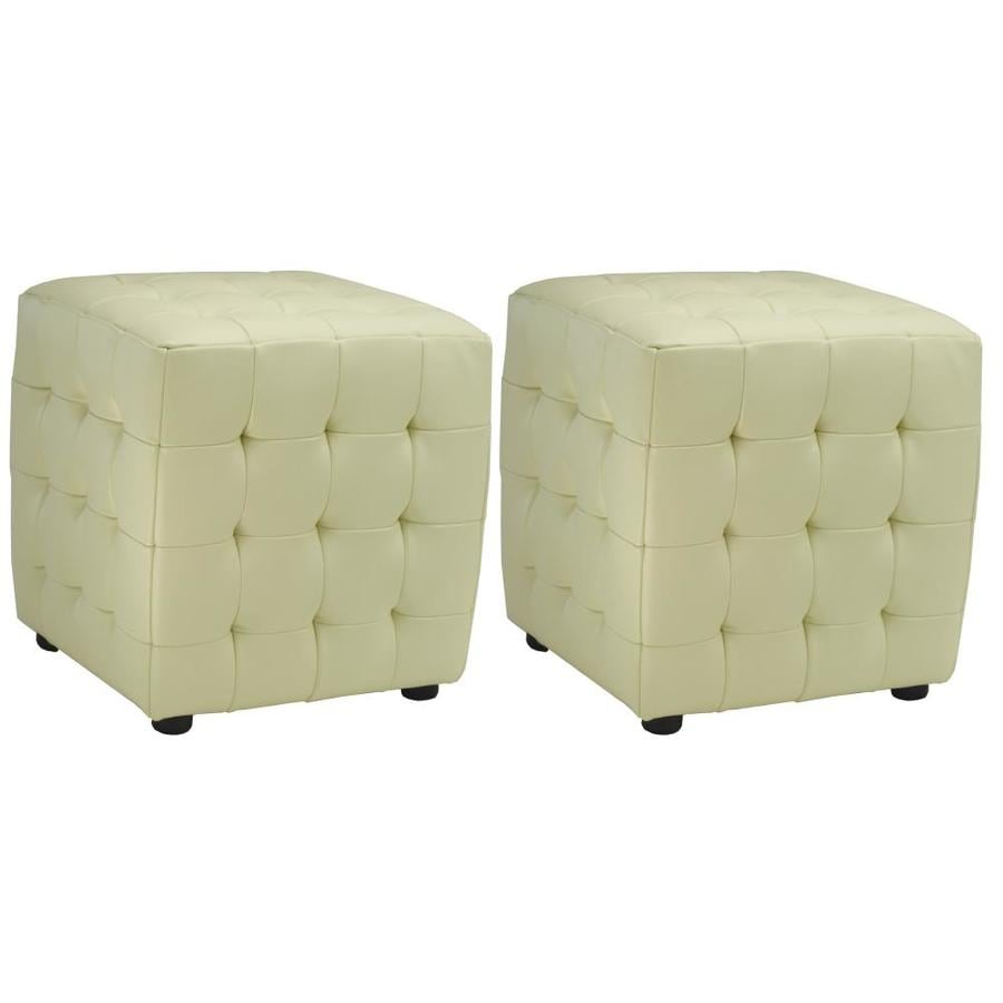 Safavieh Kristof Casual Off-White Faux Leather Ottoman