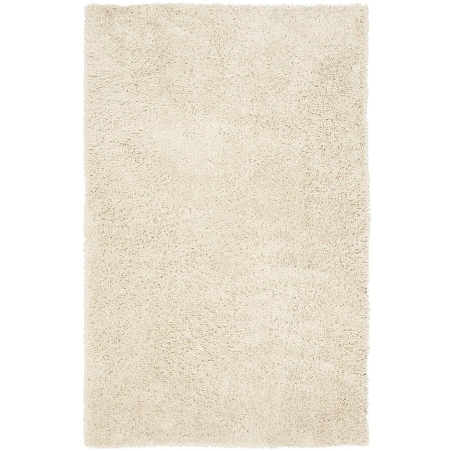 Safavieh Shag White Rectangular Indoor Tufted Throw Rug (Common: 3 x 5; Actual: 36-in W x 60-in L x 0.58-ft Dia)