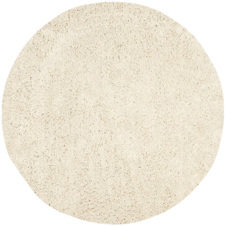 Safavieh Shag White Round Indoor Tufted Area Rug (Common: 6 x 6; Actual: 72-in W x 72-in L x 0.58-ft Dia)