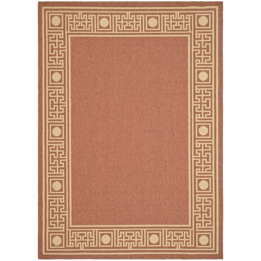 Safavieh Courtyard Greek Revival Rust/Sand Indoor/Outdoor Coastal Area Rug (Common: 5 x 8; Actual: 5.25-ft W x 7.6-ft L)