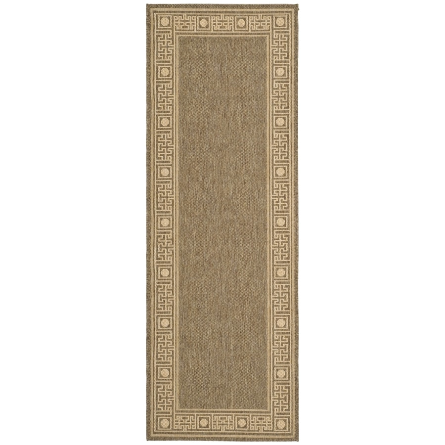 Safavieh Courtyard Greek Revival Dark Beige/Beige Indoor/Outdoor Coastal Runner (Common: 2 x 7; Actual: 2.25-ft W x 6.6-ft L)