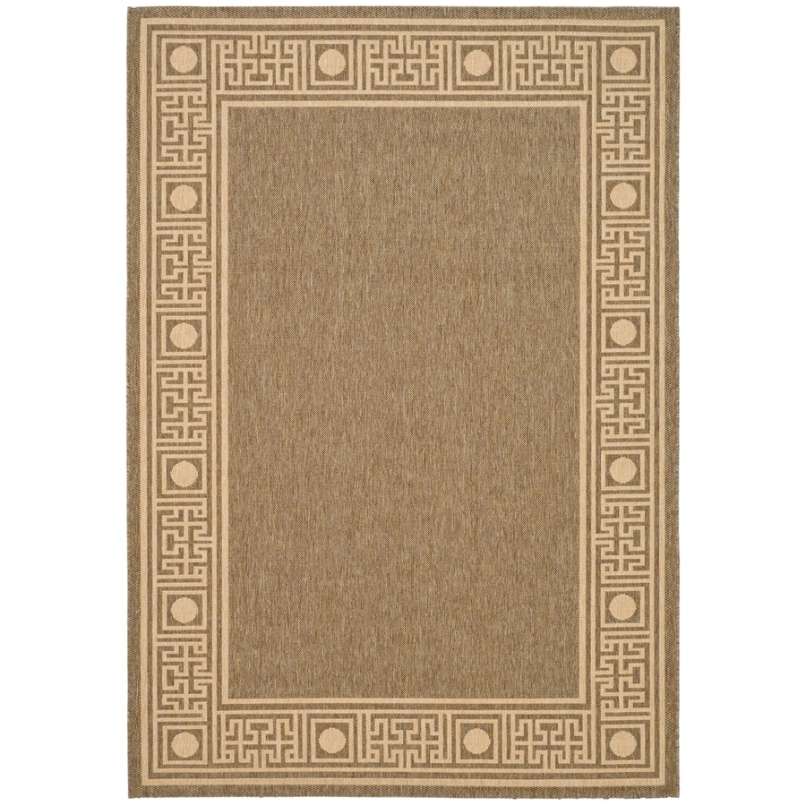 Safavieh Courtyard Dark Beige/Beige Rectangular Indoor/Outdoor Machine-Made Coastal Area Rug (Common: 8 x 11; Actual: 8-ft W x 11-ft L)