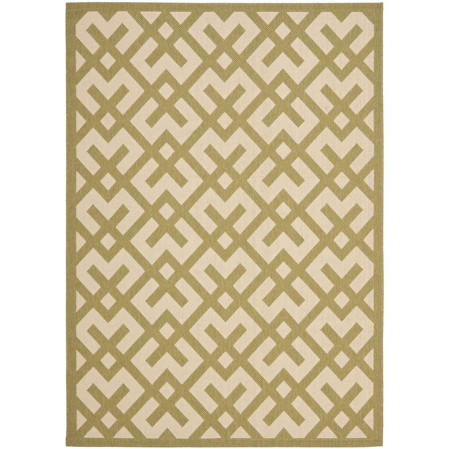 Safavieh Courtyard Beige and Green Rectangular Indoor and Outdoor Machine-Made Area Rug (Common: 8 x 11; Actual: 96-in W x 134-in L x 0.58-ft Dia)