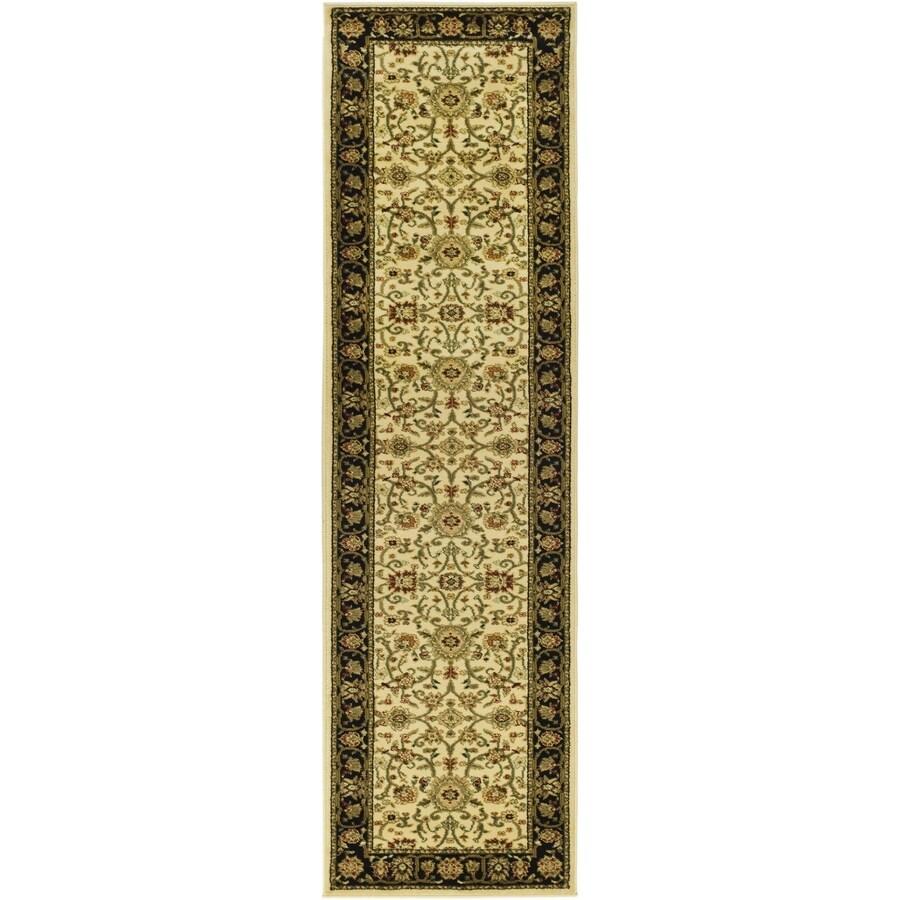 Safavieh Lyndhurst Sarouk Ivory/Black Rectangular Indoor Machine-made Oriental Runner (Common: 2 x 20; Actual: 2.25-ft W x 20-ft L)
