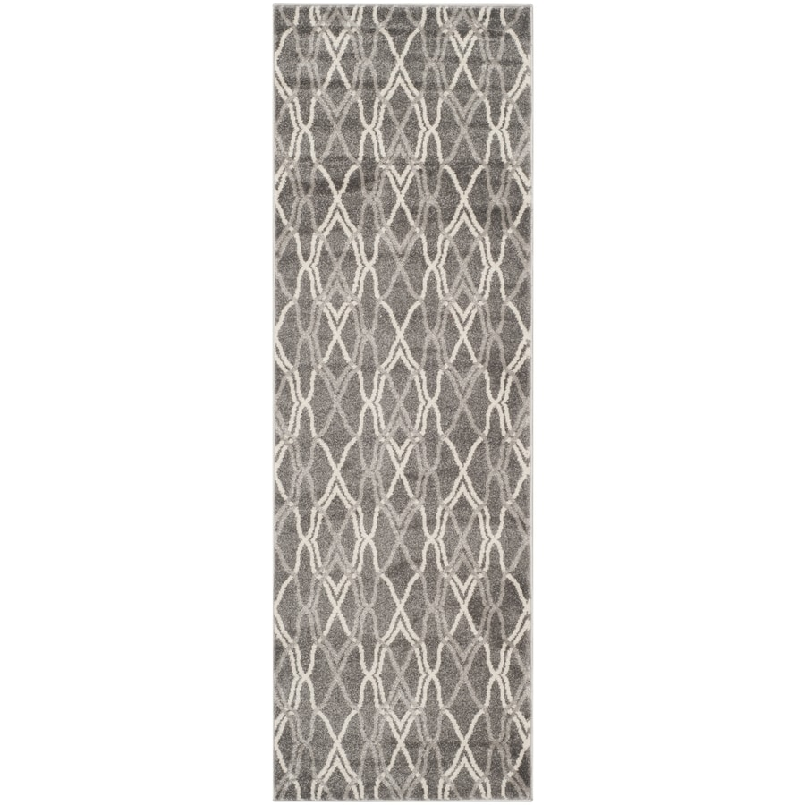 Safavieh Amherst Cedarhurst Gray/Light Gray Indoor/Outdoor Moroccan Runner (Common: 2 x 11; Actual: 2.3-ft W x 11-ft L)