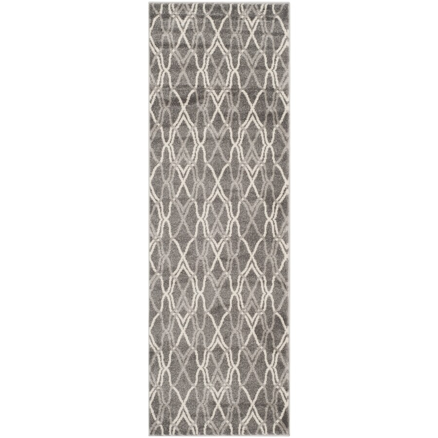 Safavieh Amherst Gray/Light Gray Rectangular Indoor/Outdoor Machine-Made Moroccan Runner (Common: 2 x 9; Actual: 2.25-ft W x 9-ft L)