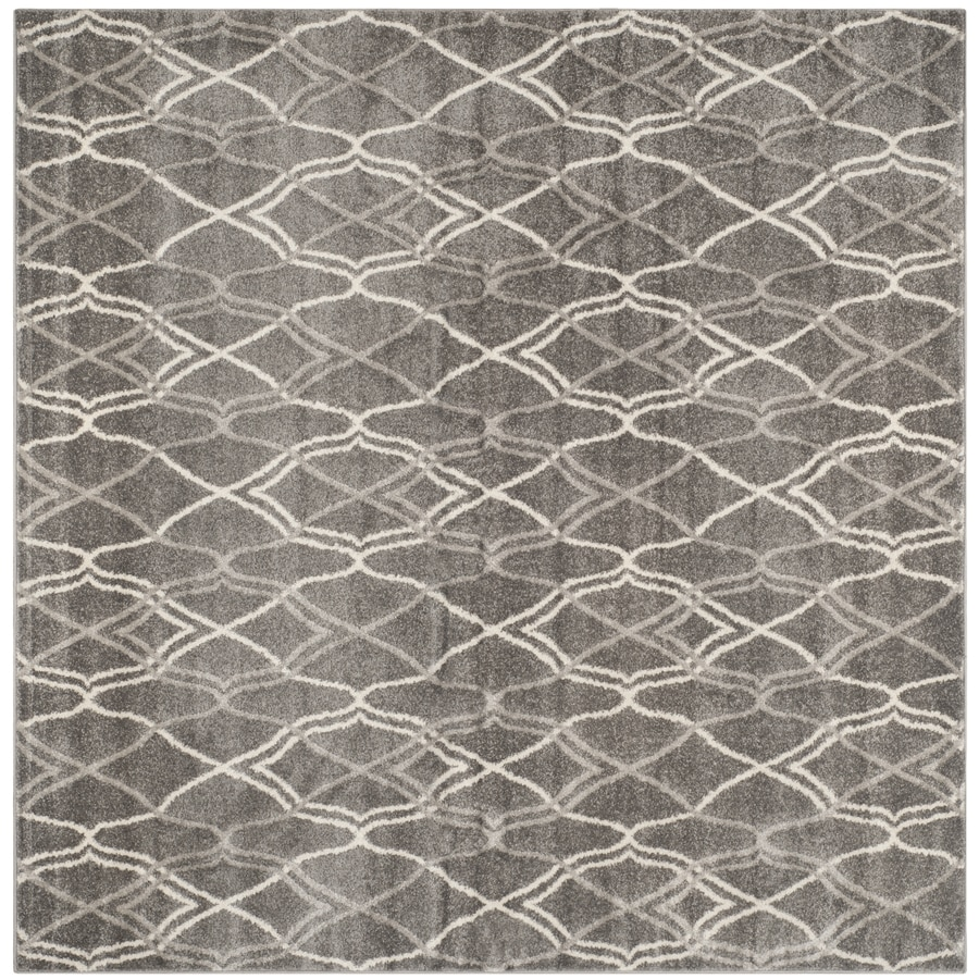 Safavieh Amherst Cedarhurst Gray/Light Gray Square Indoor/Outdoor Machine-Made Moroccan Area Rug (Common: 5 x 5; Actual: 5-ft W x 5-ft L)