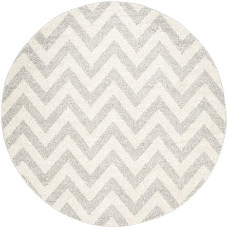 Safavieh Amherst Bellport Gray/Beige Round Indoor/Outdoor Machine-made Moroccan Area Rug (Common: 5 x 5; Actual: 5-ft W x 5-ft L x 5-ft Dia)